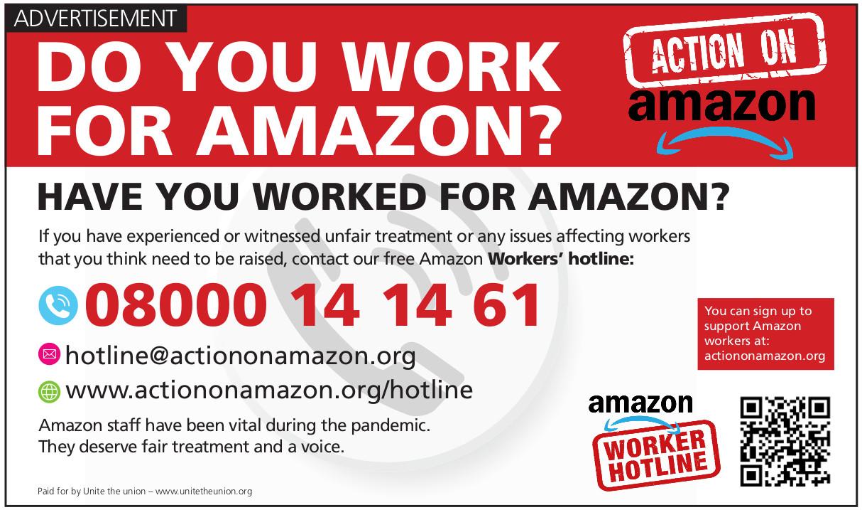 Amazon workers hotline advert