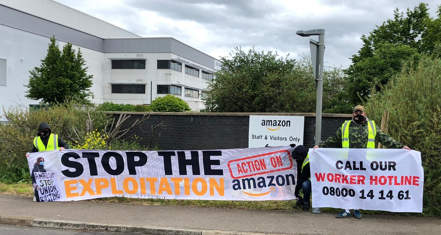 Amazon workers protesting at depot