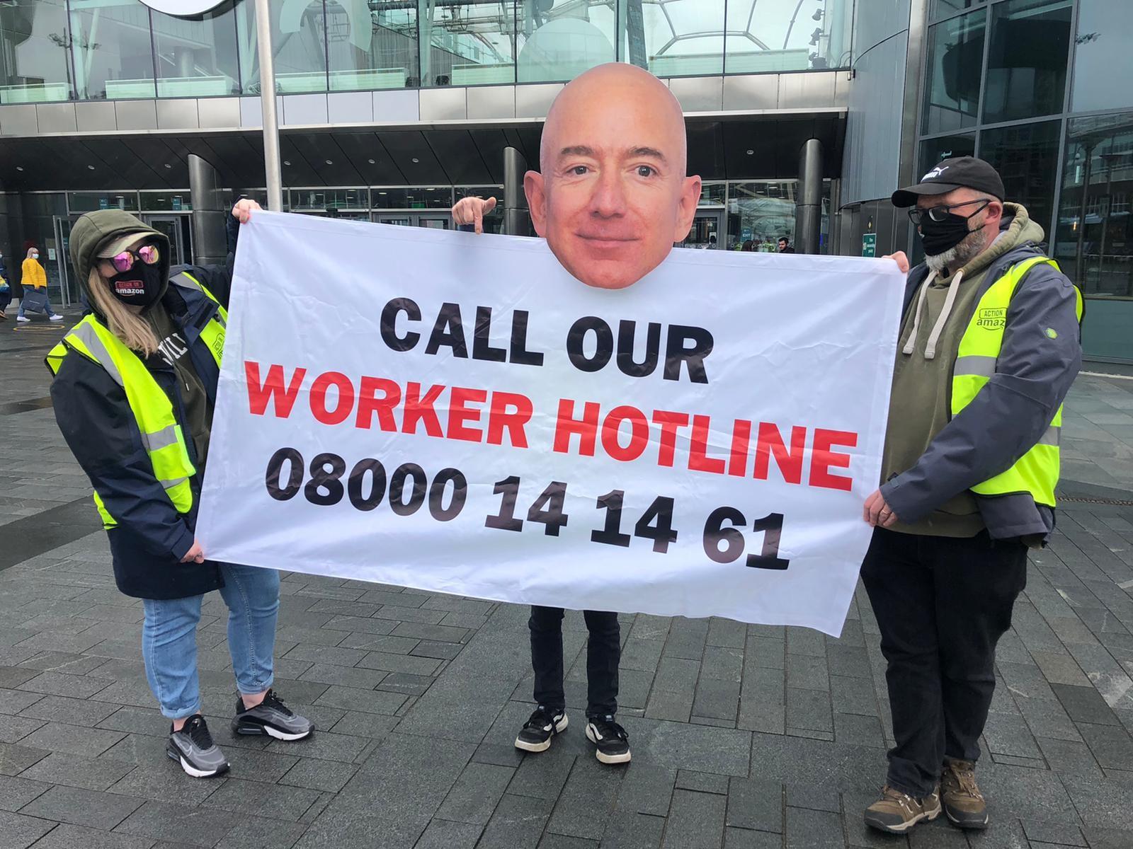 Amazon workers hotline banner